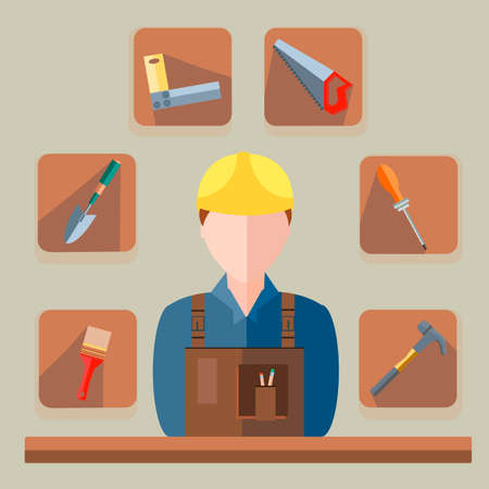 Builder into a flat style. Icons construction materials. Illustration