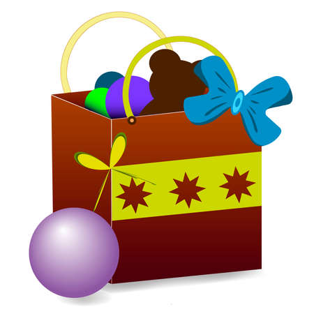 asterisks: Gift package with a bear, blue, green, violet balls. The package is decorated with a blue ribbon and a yellow strip with three asterisks. Vector illustration