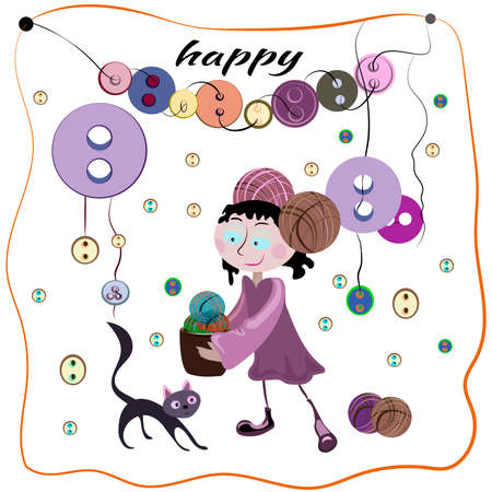 helps: The girl collecting colorful tangles of thread and buttons. Black cat helps her. Vector illustration