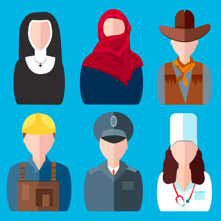blue clip: Icons in the colorful, cartoon style graphics. People of different professions. Men and female characters of different specialties on blue. Clip art of various spheres of activity for the design. Vector illustration