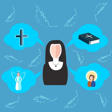 angel cemetery: Set of vector elements on the subject of religion. The nun is drawn in cartoon style graphics on a blue background. Icons in the form of clouds with symbols of faith. Vector illustration