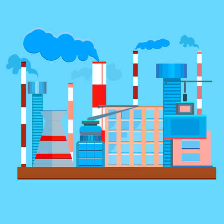 steam turbine: The factory in a flat style. Urban design of industrial buildings and structures. The modern concept of vector illustration on a blue background with smoke. Architecture with many windows and high red-white chimneys. Vector illustration Illustration