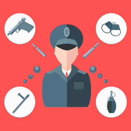 enforcement: Set of isolated icons on military theme. Service protection, law enforcement, gun into a flat style on a red background. Clip Art for the design of the site. Vector illustration Illustration