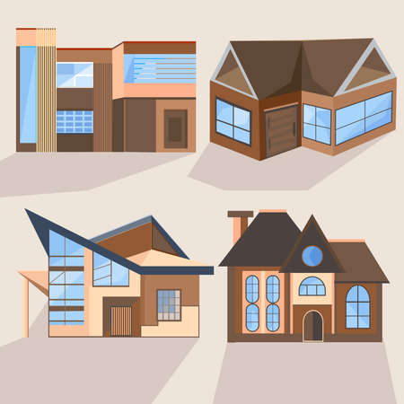 villas: Set of stylish brown houses with beautiful blue windows into a flat style. Cottages and villas in different angles. Vector illustration