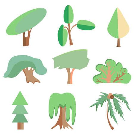 shrub: Set of trees made into a flat style. Oak palm, shrub, willow, spruce, poplar. Vector illustration