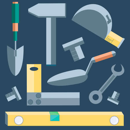 putty knife: Icons of building materials. Shovel, level, putty knife, wrench, hammer into a flat style on gray background. Illustration