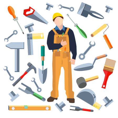 Set van geïsoleerde objecten, bouwer in een vlakke stijl. Pictogrammen bouwmaterialen hamer, stopverf mes, schroevendraaier, zaag, schep. Vector Illustratie