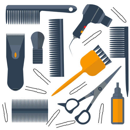 scissors hair: Set isolated tools for hairdressers in a flat style. Combs, brushes, scissors, hair dryer. The modern concept of icons for your design. Vector illustrations