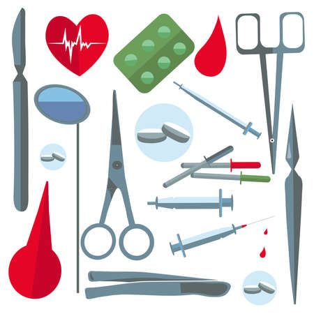 scalpels: Set isolated medical instruments and drugs in a flat style for web and mobile applications. Tablets, syringes, scalpels, scissors. Vector illustrations