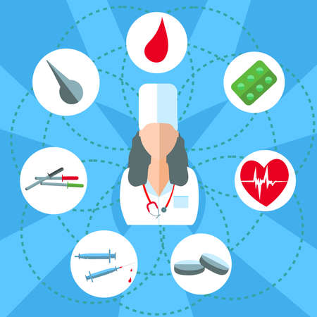 medical instruments: Attending doctor. Set isolated medical instruments and drugs in a flat style for web and mobile applications. Tablets, syringes, pipette. Vector illustrations