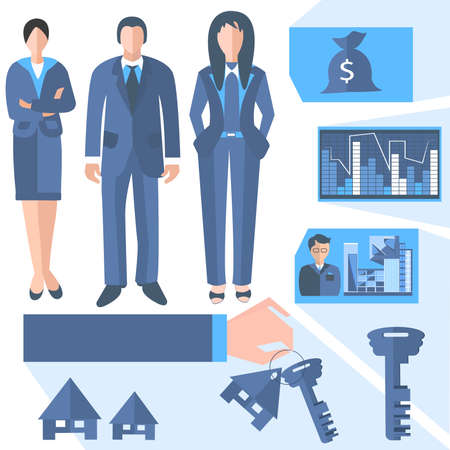 Woman and man real estate agents into a flat style. Set of isolated icons of business centers, histograms, keys, businessmen for web and mobile applications. Vector Illustration