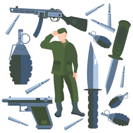 army soldier: Set on a military theme. Weapons of war, soldier on a white background. Vector illustration in cartoon style. Icons weapons, knives, grenades bullets  into a flat style. Isolated vector Illustration Illustration