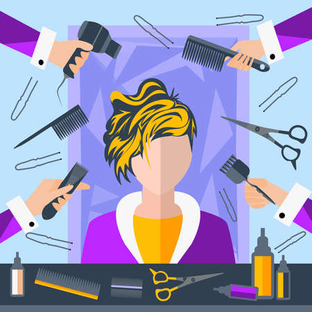 set of men hair styling: Set of tools for hairdressers in a flat style. Girl in a beauty salon. In the hands of stylists comb, hair brush. The modern concept of icons for your design. Vector Illustration