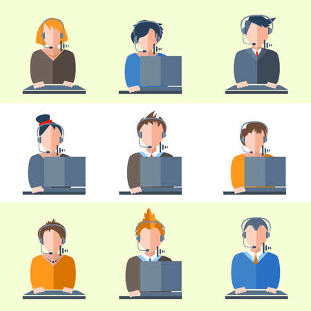 mobile operators: Color flat icons of men and women business topics. Illustration of people center operators for web, social, management, business, internet, mobile applications, interface design. Vector illustration