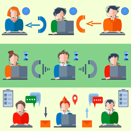 operators: Icons in a colorful cartoon style graphics. Operators of the communications center. Men and women in business suits on the computers in the headphones for design. Vector illustrations