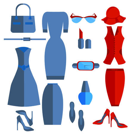 skirt suit: Set isolated womens clothing and accessories into a flat style, skirt, dress, shoes, sunglasses. Stylish office outfits that can be edited to suit your design. Vector illustration