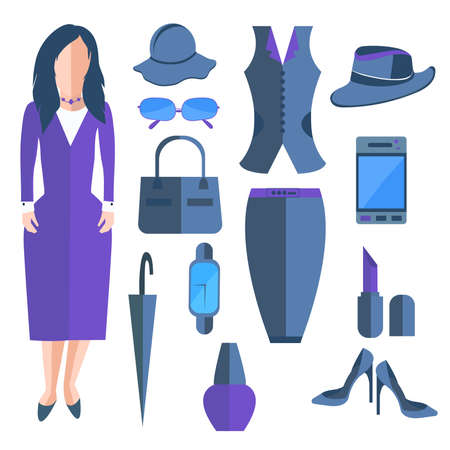 be dressed in: Business isolated woman dressed in a stylish office dress. Set of womens clothing and accessories into a flat style. Stylish outfits that can be edited to suit your design. Vector illustration Illustration