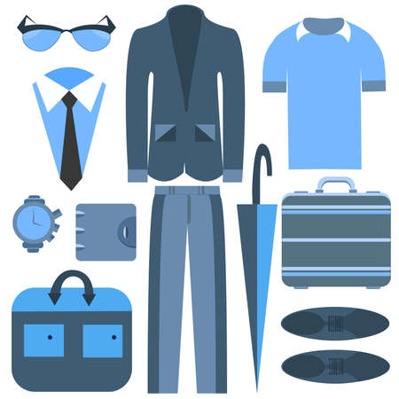 men's clothing: Set isolated mens clothing and accessories into a flat style, suits, trousers, shirt, bag. Stylish outfits that can be edited to suit your design. Vector illustration
