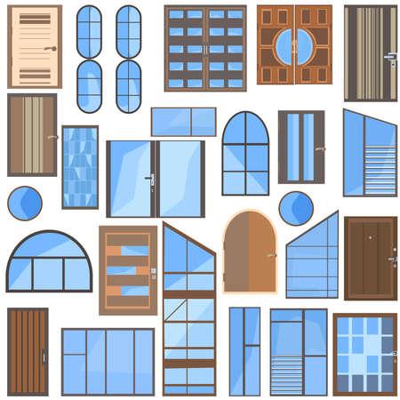 Set geïsoleerde collectie van moderne iconen platte glas, plastic, metalen plastic ramen en houten deuren voor ontwerp. Vector illustratie
