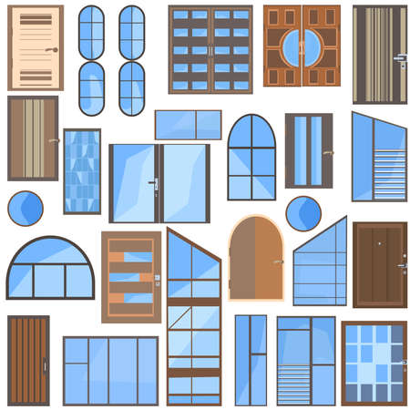 wooden doors: Set isolated collection of modern icons flat glass, plastic, metal-plastic windows and wooden doors for design. Vector illustration Illustration