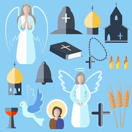Insieme di bit isolate e pezzi su un tema religioso in uno stile piatto. Icone colomba, angelo, campana, Bibbia, chiesa su uno sfondo blu per la progettazione. illustrazione di vettore