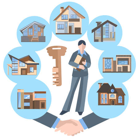 hotel manager: Woman real estate agent into a flat style. Set of isolated icons of office and business centers, villas, cottages for web and mobile applications. Buildings on a blue background. Vector Illustration Illustration