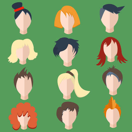 wigs: Set isolated of stylish, faces, hairstyles men and women wigs into a flat style. The modern concept of editable icons for your design. Vector illustration