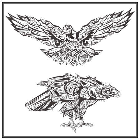 talons: Decorative eagles on a white background. Isolated birds in vintage style for design t-shirts, bags, posters, tattoos. Vector illustration Illustration