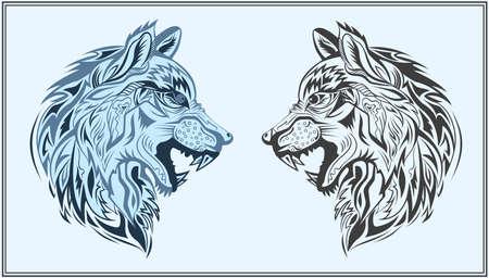 Cabeza decorativa de un lobo sobre un fondo azul. Animales decorativos aislados en un estilo moderno para bolsas de diseño, carteles, tatuaje