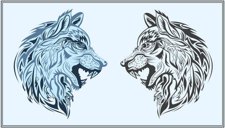 gray wolf black and white: Decorative head of a wolf on a blue background. Isolated decorative animals in a modern style for design bags, posters, tattoo