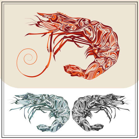 prawns: Ornamental prawns on white and brown background. Isolated crustacean in the red, green and black colors. The modern concept  for the booklet, menu. Vector illustration