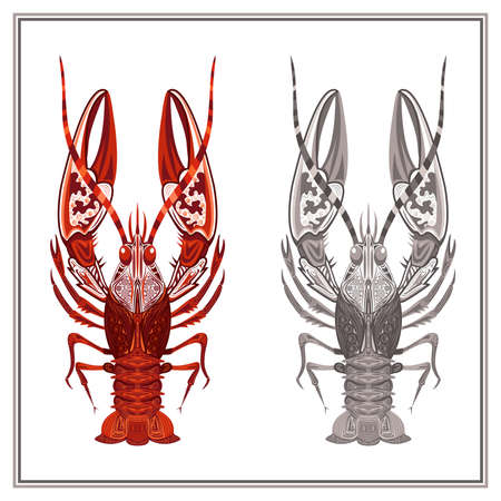 crustaceans: Decorative ornament crayfish on a white background. Isolated crustaceans with red and gray patterns for design menu, t-shirts, bags. Vector illustration Illustration