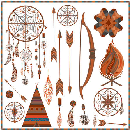 wigwam: Set elements ethnic style. Dream Catcher. Indian colored decorative components. Isolated arrows, feathers, beads, wigwam, onions, fire, earring. The concept for the design. Vector illustration Illustration
