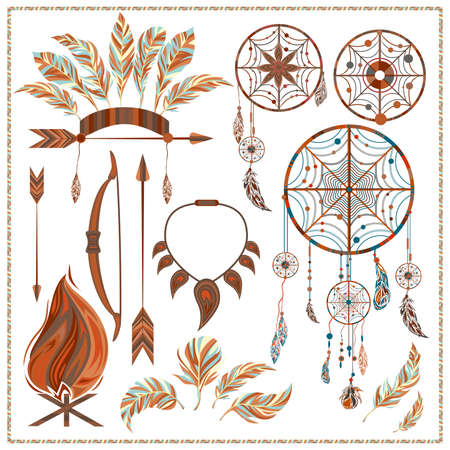 fang: Set of ethnic style. Dreamcatcher. Indian colored decorative components. Isolated arrows, feathers, fire, fang. The design concept. Vector illustration