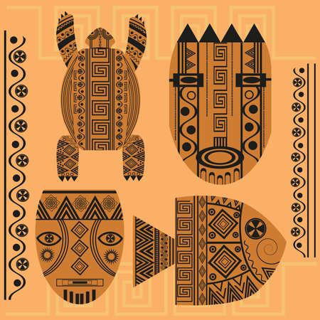 ethnographic: Set of ornamental African masks, turtles, fish. Ethnic patterns for design. Isolated vector illustration
