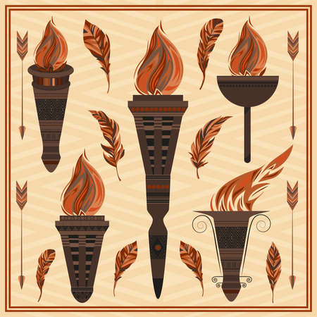 nights: Set decorative flaming torches, feathers, arrows. Elements of Greek ornament, fire design for flyers, invitations, theme nights. Vector illustration