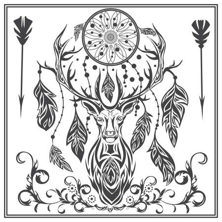 herbivorous: Decorative deer on a white background. Isolated herbivorous with Dreamcatcher between the horn and the ornament in baroque style for  designs, tattoo. Isolated vector illustration Illustration