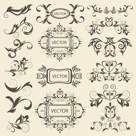 Impostare monogrammi, ornamenti floreali in stile barocco. elementi d'epoca isolato per i tatuaggi, stampa, tessile. Illustrazione vettoriale isolato
