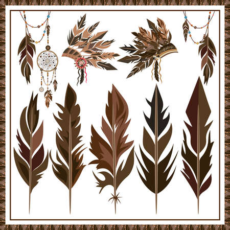bonnet: Set of ethnic style on a white background. Dreamcatcher. Isolated feathers, beads, war bonnet. Isolated vector illustration