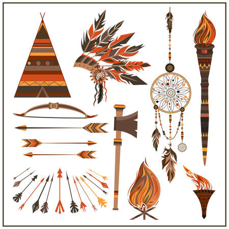wigwam: Set elements ethnic style. Dream Catcher. Isolated arrows, feathers, beads, wigwam, onions fire, tomahawk torch . The concept for the design. Vector illustration