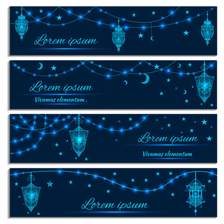 fasting: Greeting cards with colorful hanging lanterns vintage, stars, lights on a dark background. Modern concept congratulations holy fasting month of Ramadan Kareem. Vector illustration