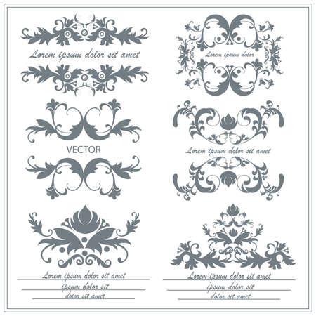 Set Blumenverzierungen in der barocken, im viktorianischen Stil. Isolated vintage viktorianischen Elemente für Tätowierungen, Druck, Textilien auf einem weißen Hintergrund. Vektor-Illustration Vektorgrafik