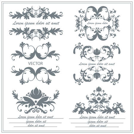 floral ornaments: Set floral ornaments in baroque, victorian style. Isolated vintage victorian elements for tattoos, printing, textiles on a white background. Vector illustration
