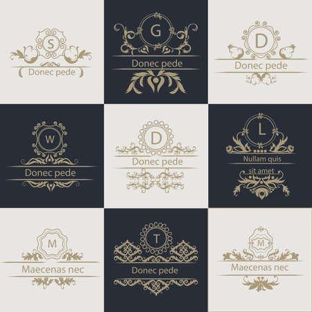 Serie di modelli di volantini. Decorativi, cornici ornamentali in stile vintage.
