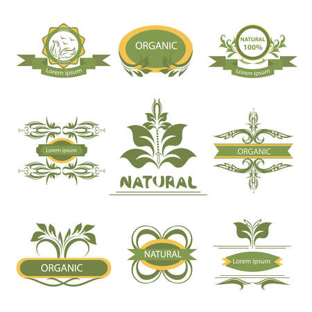 Organic products, isolated labels, elements flora, set for food and drink, restaurants. Vector Illustration
