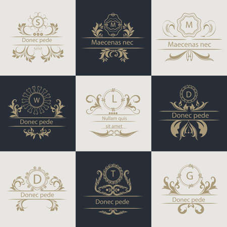 leaflets: Logos for corporate style. Set leaflets. Decorative, ornament frames in Victorian style. Vector Illustration