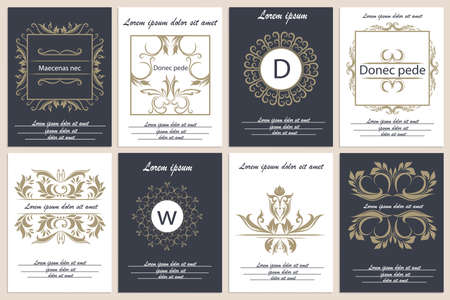 leaflets: Decorative, ornament frames in Victorian style. Set of patterns leaflets. Logos for corporate style. Vector Illustration