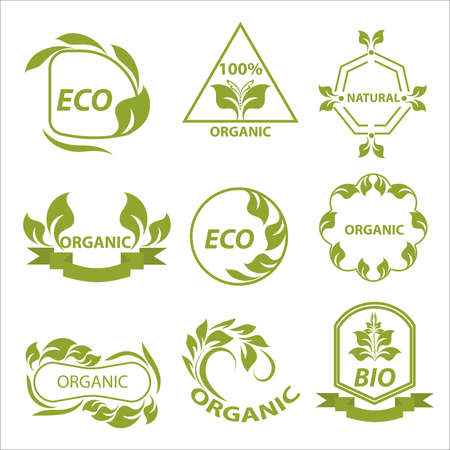 eat healthy: Organic products, eco logo, elements flora, labels, set for food and drink, restaurants. Vector Illustration