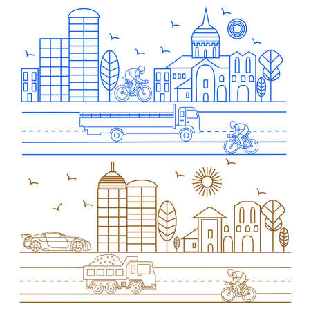 cathedrals: City illustration in linear style birds, buildings, cathedrals, clouds, cyclist, machines graphic design template. Vector Illustration