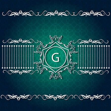 auspicious occasions: Elegant corporate style card with pattern on green background,